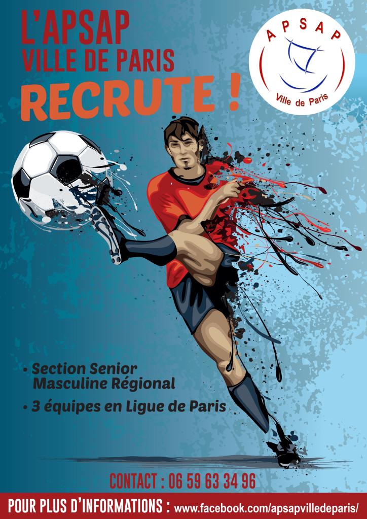 L'APSAP FOOT Paris recrute pour la saison 2020-2021.